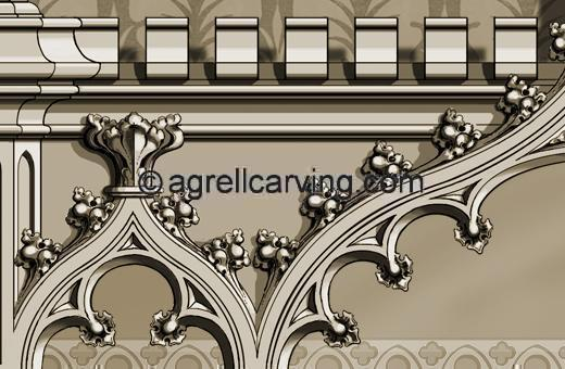 Gothic fireplace overmantel