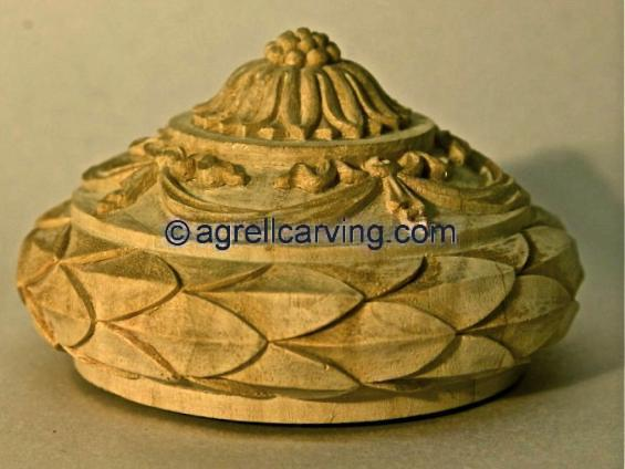 Finial laurel and drapery swags by Agrell woodcarving