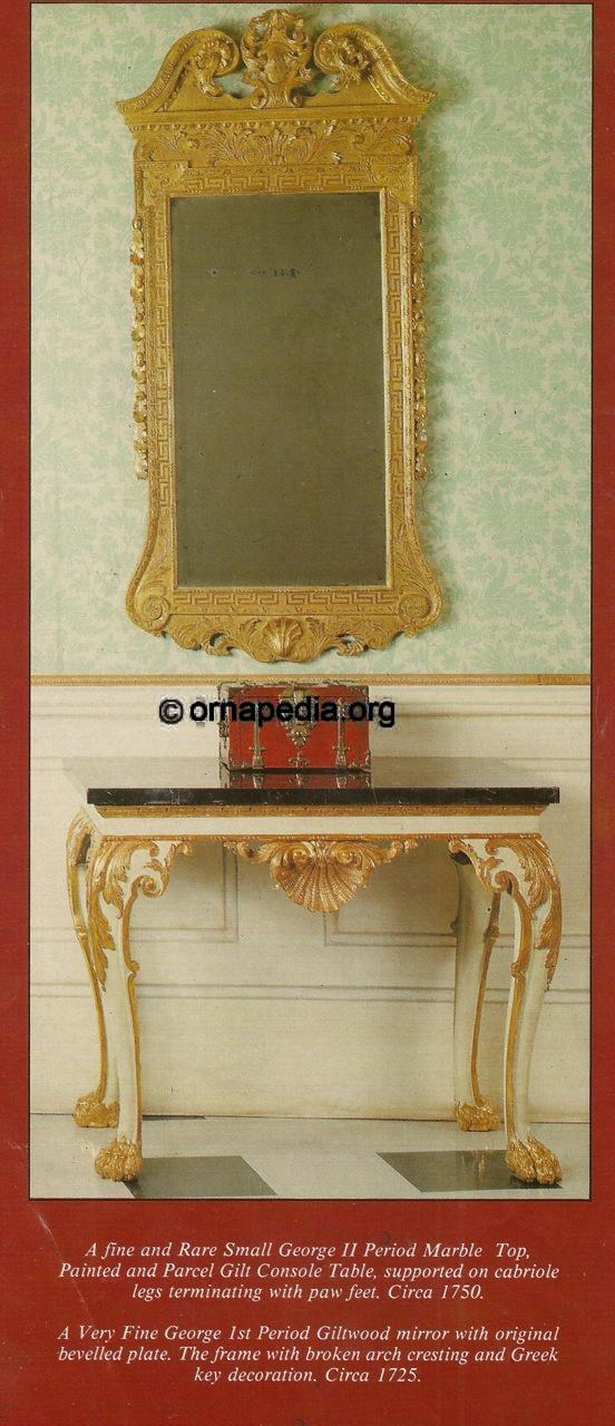 18th Century console table and mirror frame.