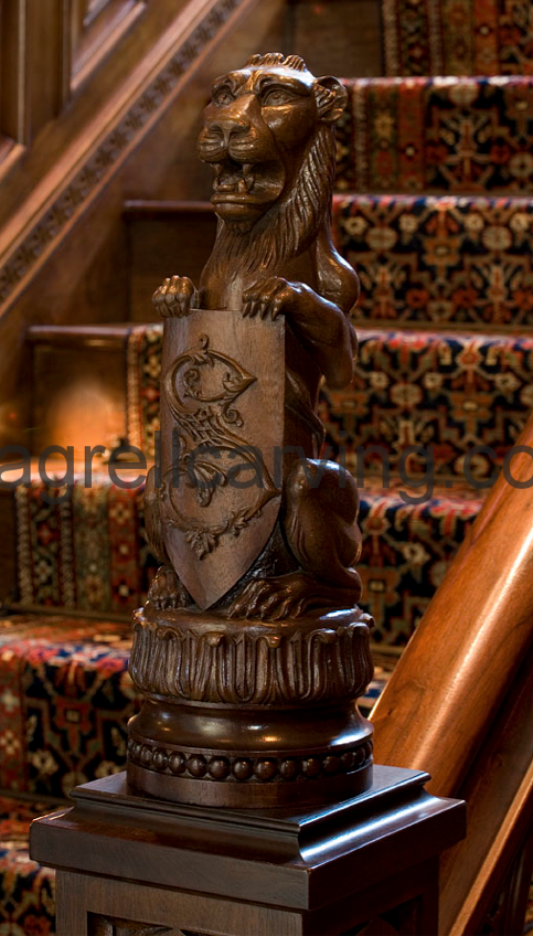 Lion newel post.