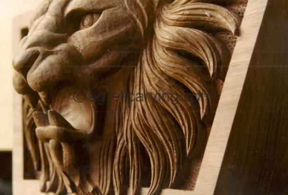 Lion head panel.