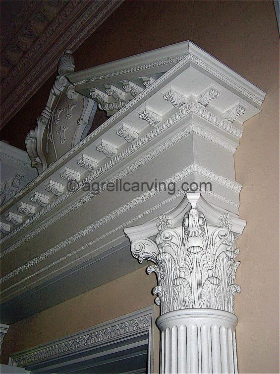 Corinthian capital at Fulham Palace Entablature Cartouch colour color Agrell woodcarving