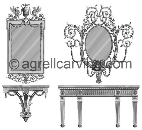 Neoclassical mirrors, brackets and console table